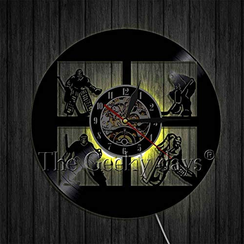 xcvbxcvb Ice Hockey Wall Decor Vinyl Record Wall Clock Modern Handmade Wall Art Decor Your Room Original Gift For Hockey Fans
