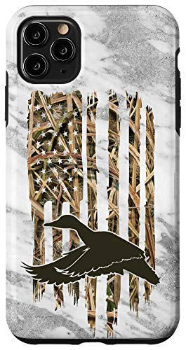 iPhone 11 Pro Max Grey Camouflage American USA Flag Duck Hunter Hunting Trendy Case