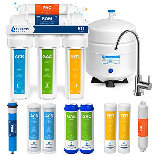 Express Water Reverse Osmosis Water Filtration System – 5 Stage RO Water Filter System with Faucet and Tank – Under Sink Water Filter – Plus 4 Replacement Filters – 100 GPD