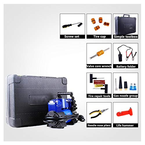 Tire Inflator Air Compressor, auto Pomp 12V 100psi met 50L / Min Grotere Air Flow, 3 Nozzle Adapters en Portable Toolkit, Heavy Duty Dubbele Cilinders Metal luchtcompressoren