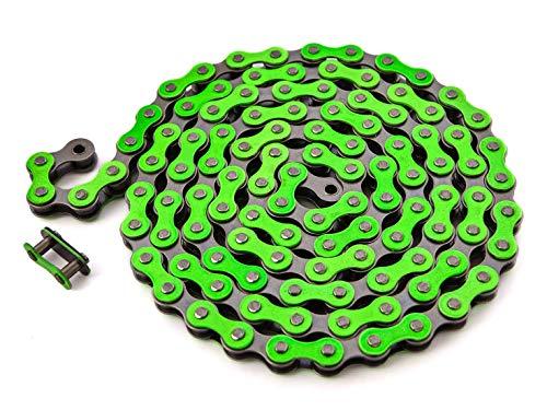 KHE BMX Fixie Catena 1/2' x 1/8' 112 maglie sinistra solo 385 g con lucchetto I4 – molti colori (verde)