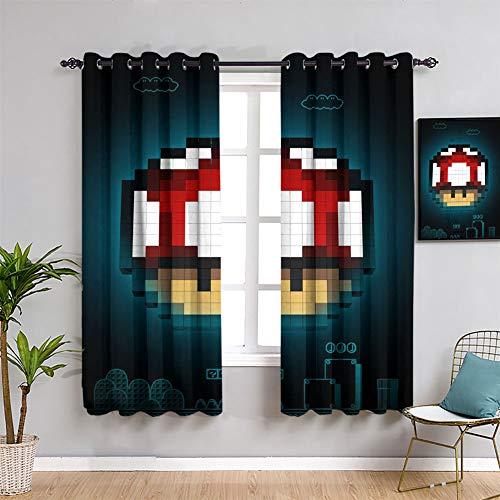 Juegos y anime Super icono de seta para ventana de tela Super Mario Backout cortina para habitaciones de niños, 163 x 182 cm
