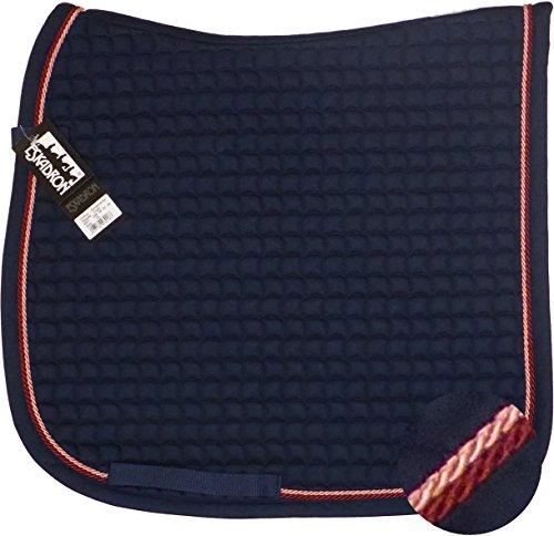 ESKADRON Cotton Schabracke navy, 2fach Kordel raspberry/lachs, Form:Dressur