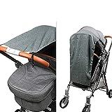 Sombrilla para cochecito de bebé y cochecito de bebé de ajuste, parasol para cochecitos / capazos / silla de paseo, con protección UV 50 y función de deslizamiento hacia arriba y hacia abajo (gris)