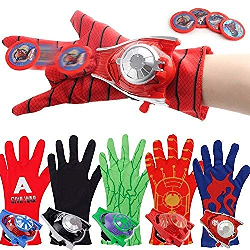 Yoli Guantes de lanzador de Spider-Man Capitn Amrica, Hulk Optimus Prime Iron Man, lanzador de tarjetas de juguete (guantes de lanzador de Spiderman)