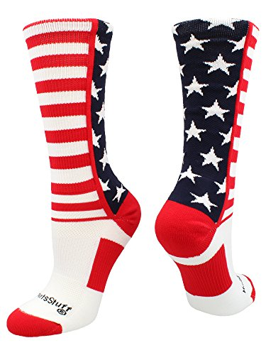 MadSportsStuff USA American Flag Stars and Stripes Crew Socks (Navy/Red/White, Small)