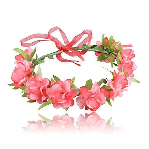 Q_TS Haarspange Stirnbänder Tuch Kopfschmuck Kinder Band künstliche Blume Ring Wassermelone rot