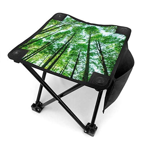 liang4268 Camping Hocker Landscapes Green Forest Trees Camping Stool Folding Chairs Outdoor Fold Up Chairs Folding Samll Chair