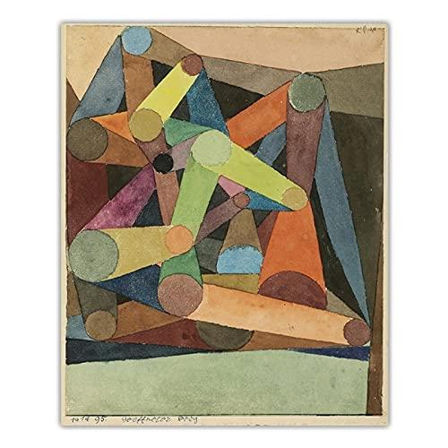 Pknbfw Paul Klee《montaña abierta》lienzo arte pintura al óleo obra de arte impresión cartel imagen decoración de la pared decoración de la sala de estar del hogar-50x70 cm sin marco