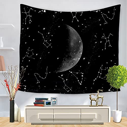 PPOU Natural Fantasy Starry Moon Tapestry Wall Hanging Home Decoration Tapestry Creative Sky Background Cloth Hanging Cloth A18 150x200cm