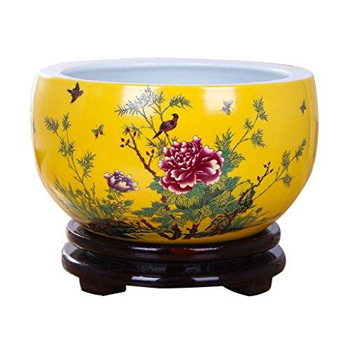 Pot de fleurs BOBE Shop en céramique de Style Chinois intérieur décoratif Jaune sans Plateau Plantes hydroponiques Plantes succulentes sans Trous 20~30cm (Couleur : #2, Taille : 28cm)