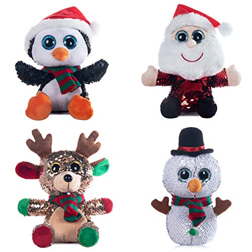"My OLi 7"" Flip Sequin Stuffed Christmas Animals Plush Santa Claus Penguin Snowman Reindeer Sitting Plush Dolls Pack of 4 Ornaments for Kids"