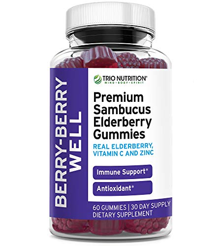 Premium Fresh Elderberry Gummies | Fresh Pectin, Zinc & Vitamin C | Immune System Booster - Real Black Elderberries, NO Gelatin, NO Fructose, Gluten Free | Immune Support & Delicious | Trio Nutrition