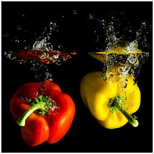 Wallario Acrylglasbild Bunte Küche Paprika in rot gelb orange und grün im Wasser - 50 x 50 cm in Premium-Qualität: Brillante Farben, freischwebende Optik