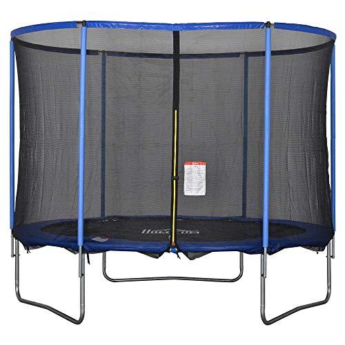 HOMCOM Trampolin mit Sicherheitsnetz Gartentrampolin für Innen- und Außenbereich Fitnesstrampolin für Kinder und Erwachsene Stahl Blau+Schwarz bis 113,6 kg Ø244 x 240H cm