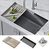 Kraus KGUW2-33MGR Bellucci Workstation Undermount Granite Composite Single Bowl Kitchen Sink with Accessories, 33 Inch, Metallic Grey