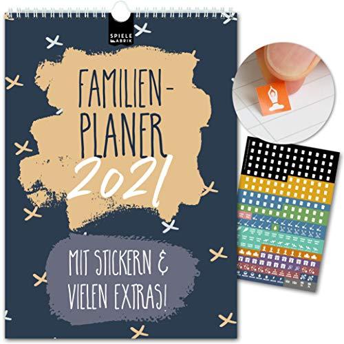 A4 Familienplaner 2021 kompakt – MUSTER | 5 Spalten | Wandkalender: 21x29,7cm | Familienkalender in stilvollem Design | Extras: 228 Sticker, Ferien, Jahreskalender, Vorschau bis März 2022
