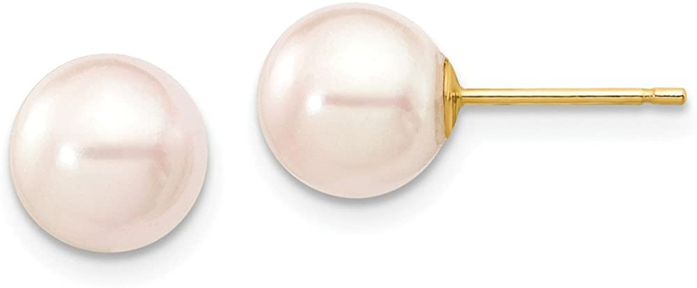 14K Yellow Gold 7-8mm Round White Saltwater Akoya Cultured Pearl Stud Earrings