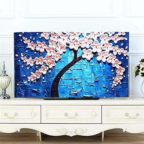 IAMZHL TV Covers 32''-65''Inch Cute Print Dust-Proof Lace TV Cover Decorative Hood Curtain Decor 20 Designs Desktop Computer Cover, 46-48 Inches