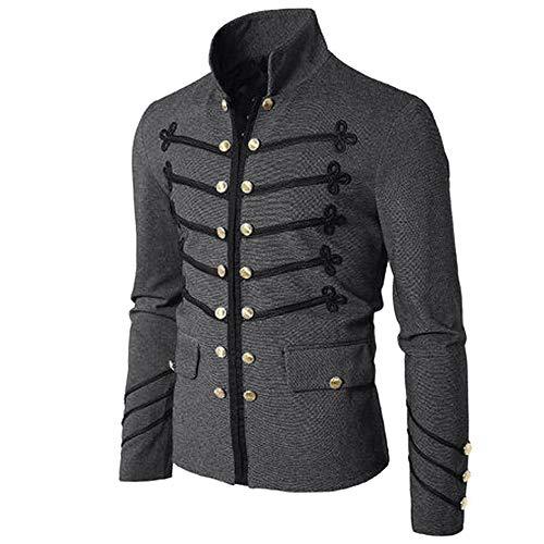 IZHH Herrenmantel, Mode Jacke Gothic Sticken Knopf Mantel Einfarbig Uniform Kostüm Praty Outwear Buttonigan Shirt(Grau,Large)