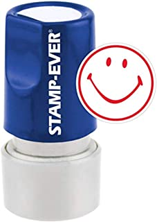 Stamp-Ever Pre-Inked Round Message Stamp, Smiley Face, Stamp Impression Size: 3/4-Inch Diameter, Red (5978)