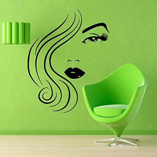 Vinilo decorativo para pared de peluquería de estilo chica, 56 cm x 76 cm