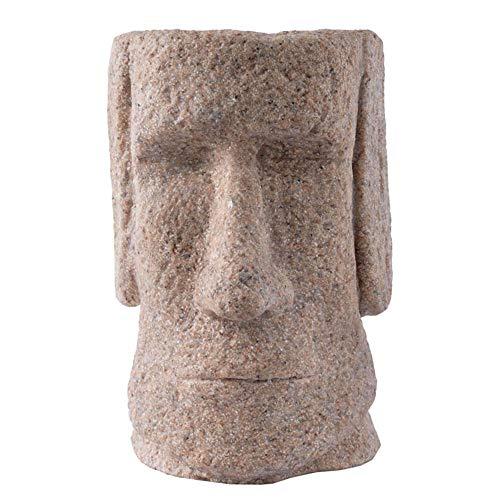 ZYBZYH Isla De Pascua Moai Head Planter Estatua, DecoracióN del Hogar Y Adornos De JardíN Estatuas, Figura De ColeccióN Arenisca Escultura ArtesaníA Regalo 10 X 11 X 14 Cm