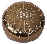 Casablanca Market Moroccan Embroidered Faux Cotton Stuffed Leather Pouf/Ottoman, Metallic Bronze