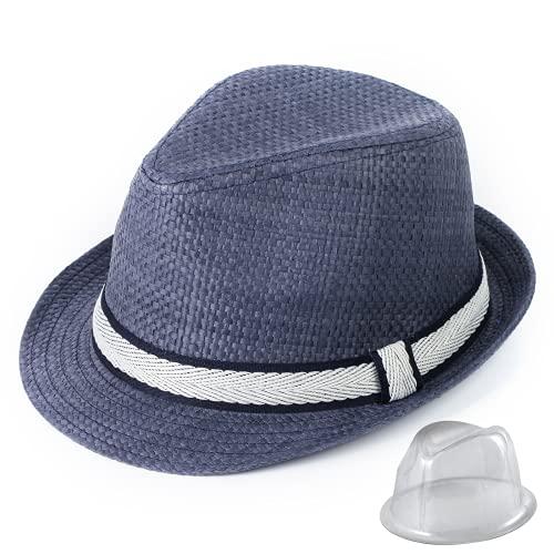 Sombreros de Paja de Panamá para Hombre, Sombreros de Playa de Verano de Paja de Papel para Hombre, Sombrero para el Sol, protección UV, Sombrero de ala Ancha Fedora (Blanco Negro, 58cm(22.8inch))