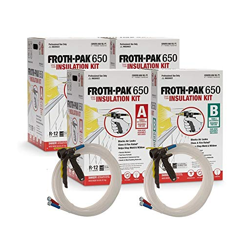 Froth Pak Dow 650, 2 Complete Close Cell Spray Foam Insulation Kits, Class A fire Rated, Covers 1300 sq ft