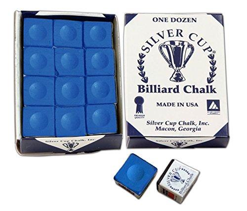 Silver Cup Marque Billard Craie, Boîte de 12, Couleur Bleu