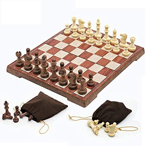 Riyyow Junta Plegable de Tablero de ajedrez portátil Juego de ajedrez de ajedrez Conjunto para Actividades Familiares de Fiesta ajedrez (Size : 36cm)