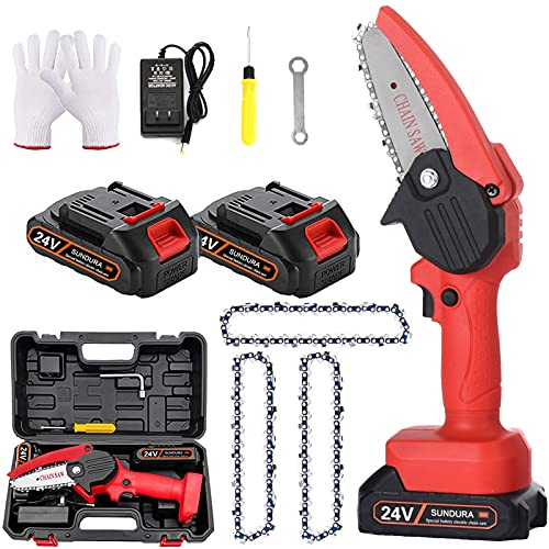 SUNDURA Mini saw One-hand portable Mini saw 4-inch Cordless lithium electric saw Mini saw battery powered Portable for trees Powerful Cordless,Light , for trees wood cutting .