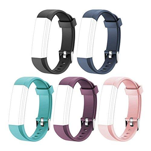 HOTSO 5 Piezas Pulsera de Repuesto para Reloj Inteligente ID 115U, Correa de Recambio con Colores Opcionales - Negro+ Azul Verde+ Rosa+ Azul Oscuro+ Violeta