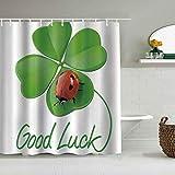 YiiHaanBuy Cortina de Ducha Impermeable,Lucky Symbols Trébol de Cuatro Hojas con Encanto irlandés Ladybug,Cortinas de baño de poliéster de diseño 3D con 12 Ganchos,tamaño 180 x 180cm