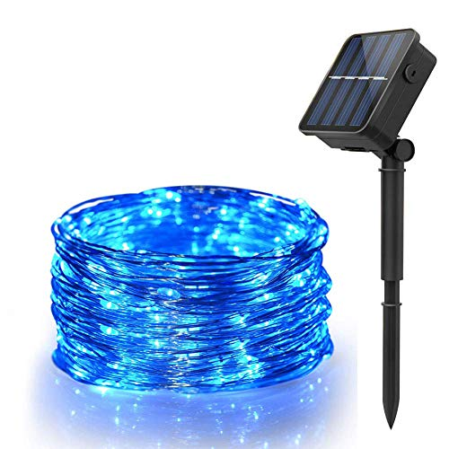 Solar Powered String Lights,66ft 200LED Copper Wire Lights with 8 Modes, Waterproof Starry String Lights, Indoor/Outdoor Solar Decoration Lights for Gardens, Patios, Homes, Parties(Blue)