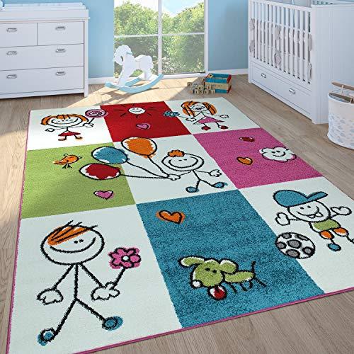 Paco Home Kinderteppich Mädchen Jungen Kinderzimmer Spielteppich Kurzflor Figuren in Creme, Grösse:120x170 cm