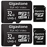 Gigastone 32GB 2-Pack Micro SD Card, FHD Video, Surveillance Security Cam Action Camera Drone Professional, 90MB/s Micro SDXC UHS-I U1 Class 10