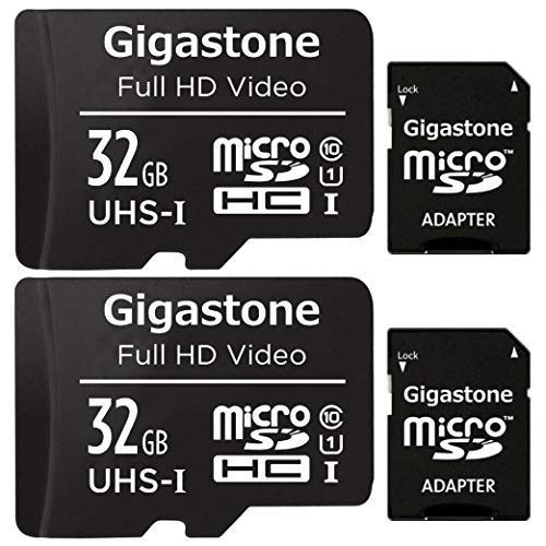 Gigastone Carte Mémoire 32 Go Lot de 2 Cartes, Vitesse de Lecture allant jusqu'à 90 Mo/s. idéal pour Full HD Vidéo Gopro Caméra Drone Tablette, U1 Carte Micro SDHC avec Mini étui et Adaptateur SD.