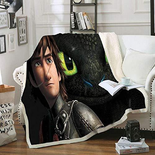 BEDLT Flanelldecke Drachenzähmen leicht gemacht gedruckt Decke Fleece Tagesdecke Decke für Sofa und Bett,B,150 * 200CM