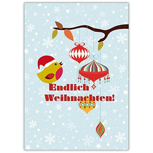 5X schattige kerstkaart met vogeltjes voor sneeuwvlokken: Eindelijk Kerstmis • mooie felicitatiekaartenset met enveloppen voor Kerstmis, Nieuwjaar, oudejaarsavond voor familie en vrienden