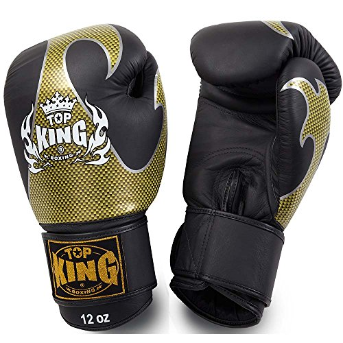 TOP KING Boxhandschuhe, Empower, Leder, schwarz-gold, Boxing Gloves, Muay Thai Size 14 Oz