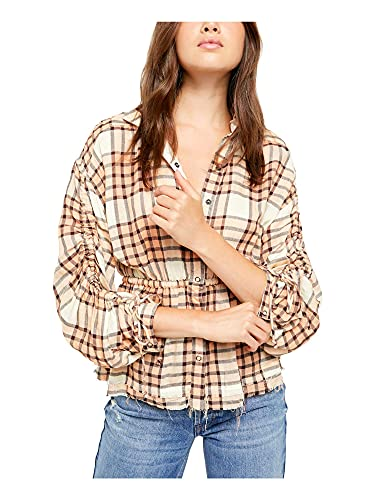 We The Free Womens Plaid Released Trim Button-Down Top Orange S