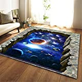 Alfombra Moderna de Pelo Corto, para salón Dormitorio baño sofá Silla cojín Impresión Azul Cielo Estrellado del Universo 3D 160X230CM(5.5ft x 7.5ft)