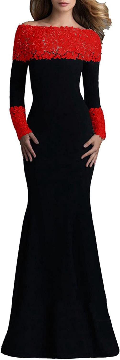 Made2envy Boat Neck Mermaid Long Sleeves Lace Decorated Evening Gown Set with Lace Panties