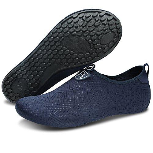Barerun Women Men Swim Water Shoes Barefoot Aqua Socks Shoes for Beach Pool Surfing Yoga Blue 8.5-9.5 B(M) US
