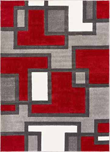 """Uptown Squares Red & Grey Modern Geometric Comfy Casual Hand Carved Area Rug 5x7 ( 5'3"""" x 7'3"""" ) Easy to Clean Stain Fade Resistant Abstract Boxes Contemporary Thick Soft Plush Living Dining Room Rug"""