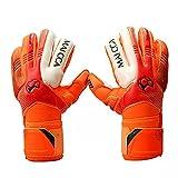 Guantes calefactados de fútbol para niños, guantes de portero de fútbol profesional, guantes de portero de fútbol para niños, guantes de portero (color: naranja, talla 6)