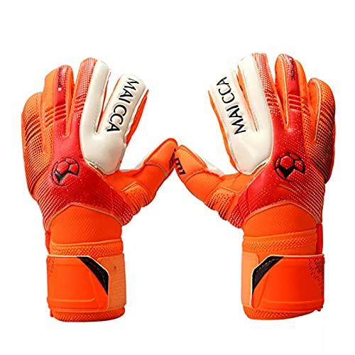 Guantes calefactados de fútbol para niños, guantes de portero de fútbol profesional, guantes de portero de fútbol para niños, guantes de portero (color: naranja, talla 5)