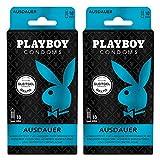 Playboy Condoms Kondome Ausdauer, Verhütungsmittel, 3-fach Effekt, mit Gleitgel gratis, 52 mm, 2 x...